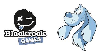 Le chien Bleu joue avec la pierre noire
