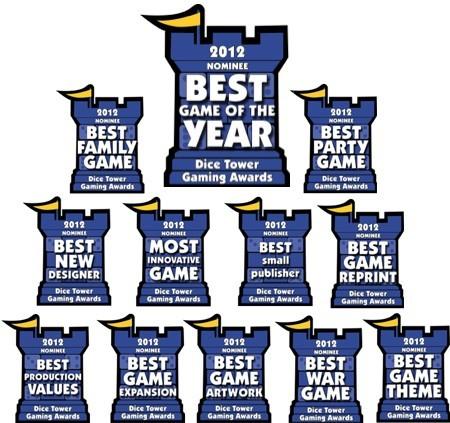 Les nommés pour le Dice Tower Award sont...